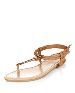 Wide Fit Tan Gem T-Bar Sandals  | New Look