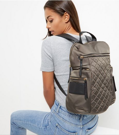 Khaki Quilted Backpack | New Look