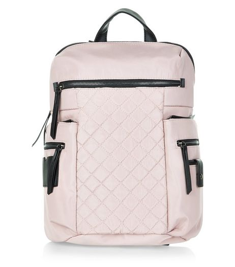 Shell Pink Quilted Backpack | New Look