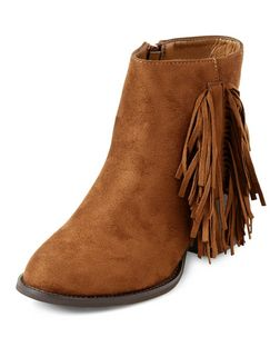 Teens Tan Fringe Side Boots  | New Look