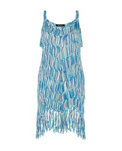 Blue Space Dye Crochet Tassel Dress | New Look