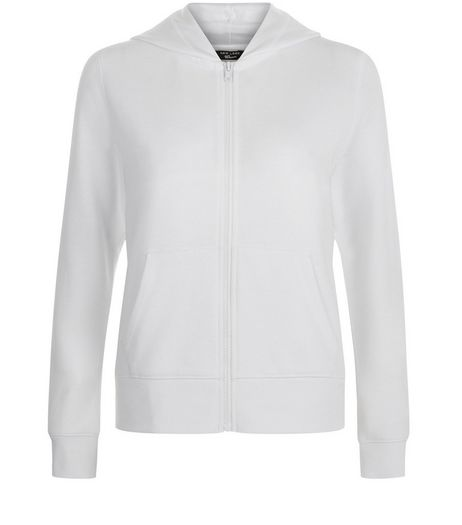 Teens White Marl Zip Up Hoodie  | New Look