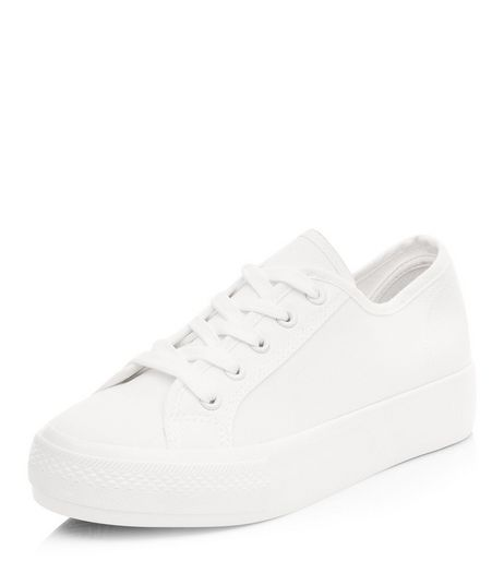 White Lace Up Flatform Plimsolls  | New Look