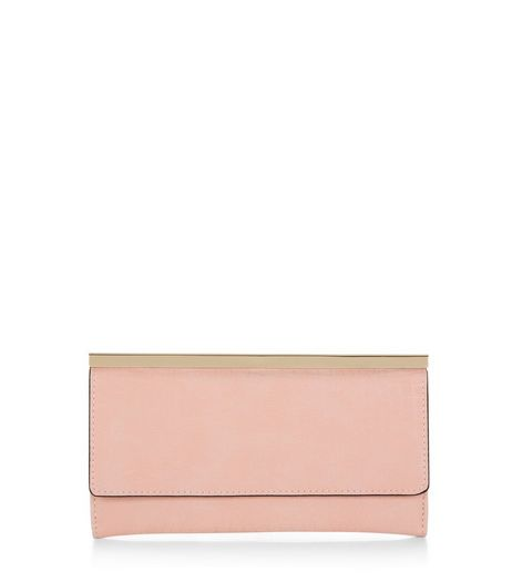 Shell Pink Metal Bar Trim Purse  | New Look