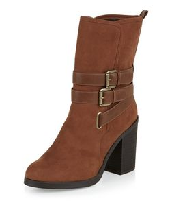 Tan Strappy Calf High Boots | New Look