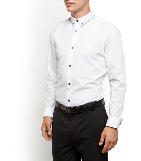 White Contrast Trim Collar Long Sleeve Shirt  | New Look