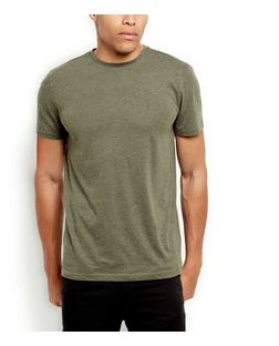 Khaki Basic Crew Neck T-Shirt  | New Look