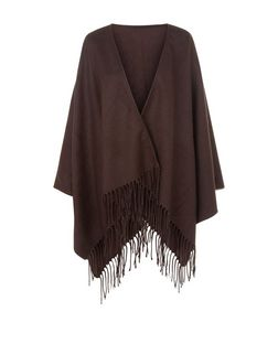 Dark Brown Fringe Blanket Wrap | New Look