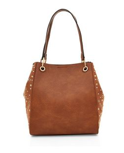 Tan Studded Soft Side Tote Bag  | New Look