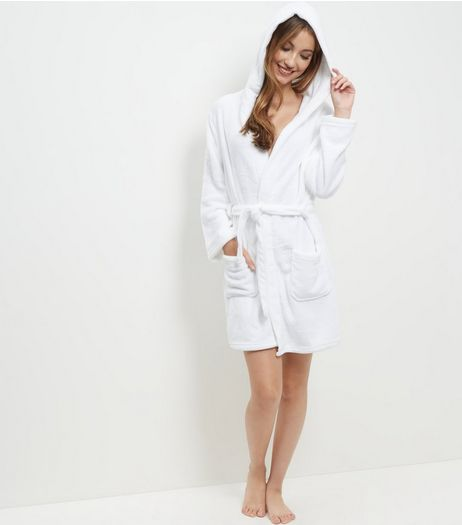 White Hooded Dressing Gown | New Look