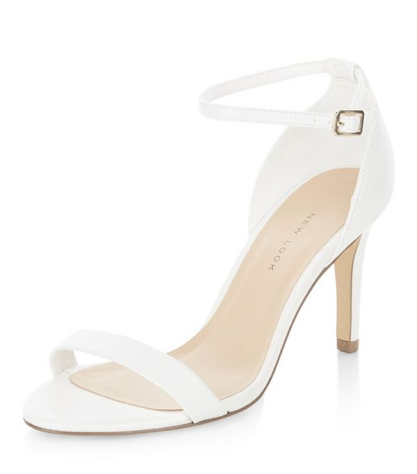 Wide Fit White Ankle Strap Heels