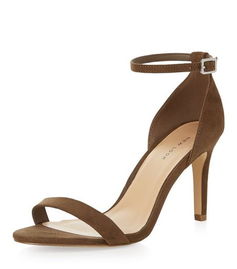 Wide Fit Khaki Suedette Ankle Strap Mid Heels  | New Look
