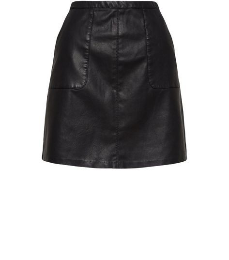 Black Leather-Look Patch Pocket A-Line Skirt | New Look