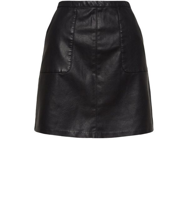 Black Leather-Look Patch Pocket A-Line Skirt
