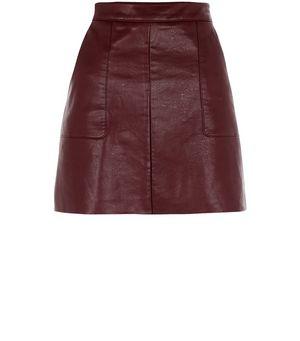 burgundy leather look a line skirt