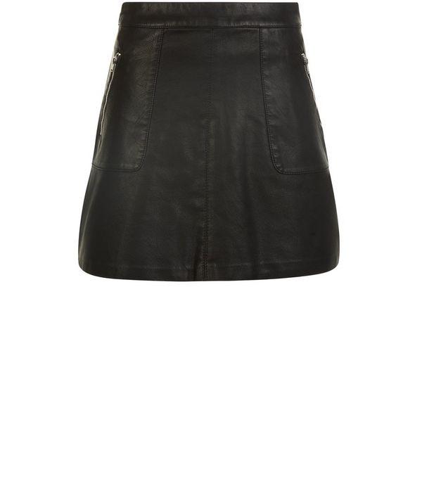 Petite Black Leather-Look Zip Pocket Front Mini Skirt