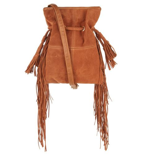 Tan Drawstring Tassel Fringe Shoulder Bag | New Look