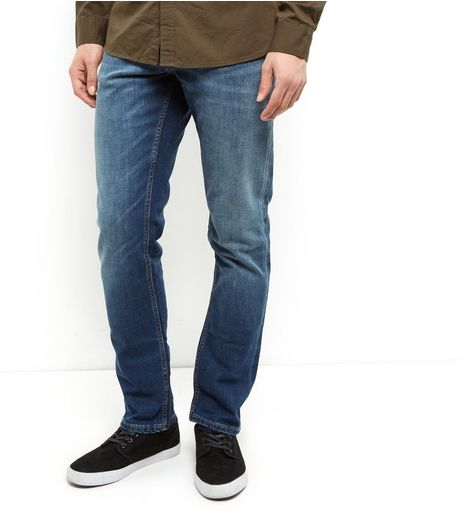 Blue Washed Straight Leg Jeans  | New Look