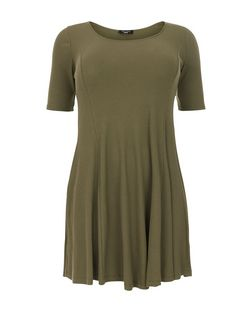 Plus Size Khaki Ribbed Skater Dress | New Look