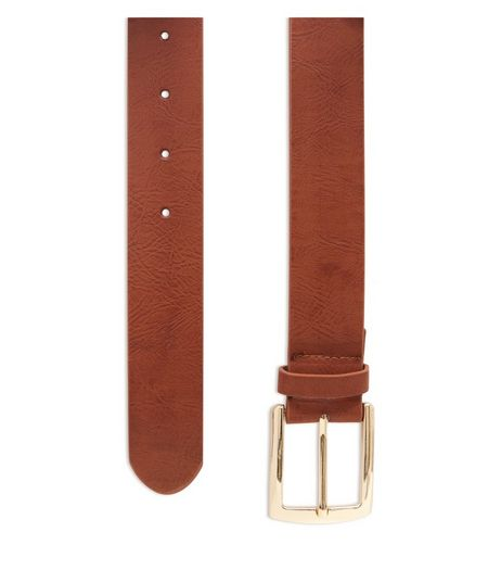 Tan Leather-Look Jeans Belt  | New Look