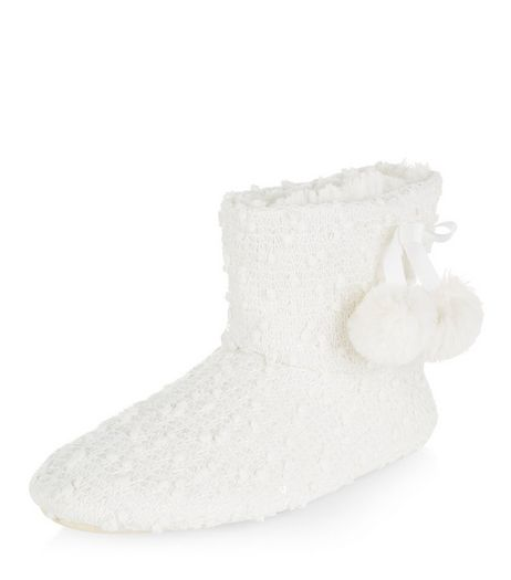 Teens Cream Pom Pom Slipper Boots | New Look