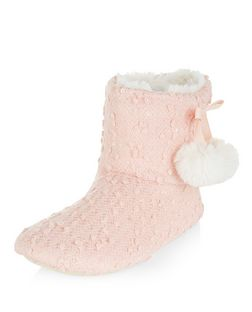 Teens Pink Pom Pom Slipper Boots | New Look