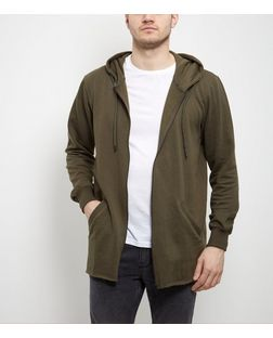 Khaki Zip Up Longline Hoodie  | New Look