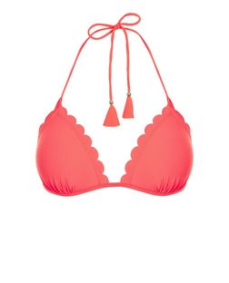 Red Scallop Hem Moulded Bikini Top | New Look
