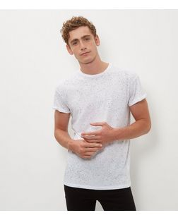 White Spray Wash T-Shirt | New Look