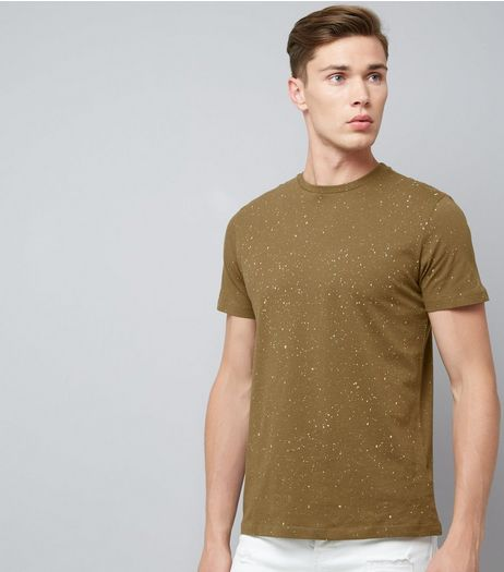 Khaki Spray Wash T-Shirt | New Look