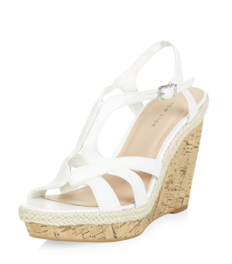 White Strappy Cork Wedges  | New Look