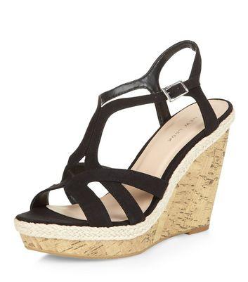 Sandalo  donna Black Strappy Cork Wedges