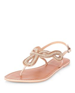 Stone Leather Embellished Twisted Strap T-Bar Sandals  | New Look