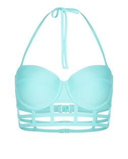 Blue Caged Bikini Top  | New Look