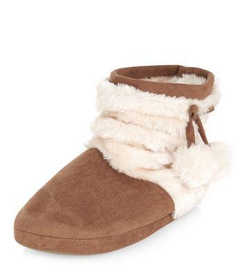 teens-tan-faux-fur-pom-pom-slipper-boots