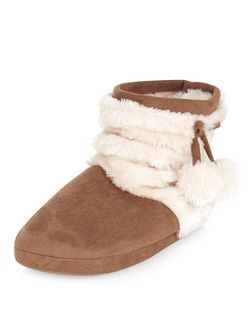 Teens Tan Faux Fur Pom Pom Slipper Boots | New Look
