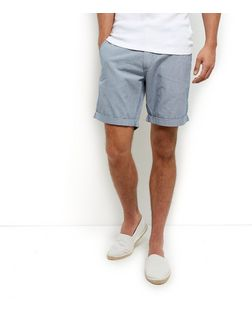 Blue Stripe Chino Shorts  | New Look