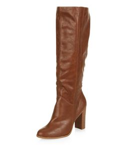 Tan Knee Length Block Heel Boots  | New Look