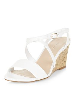 White Cross Strap Wedges | New Look