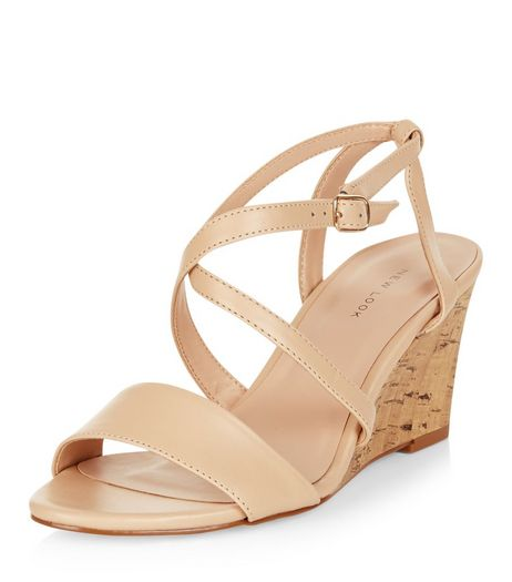Stone Leather-Look Cross Strap Wedges  | New Look