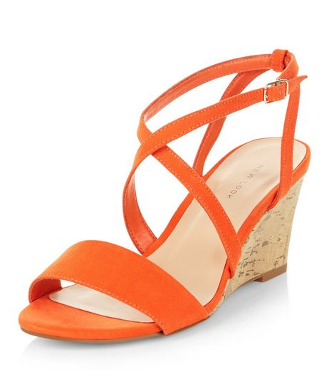 Bright Orange Cross Strap Wedges  | New Look