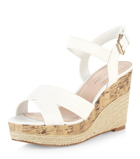 Wide Fit White Cross Strap Wedges | New Look