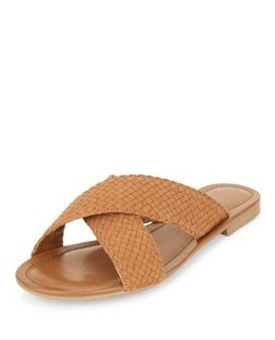 Wide Fit Tan Woven Cross Strap Sliders | New Look