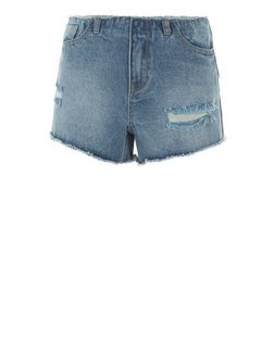 Blue Raw Hem Ripped Denim Shorts | New Look
