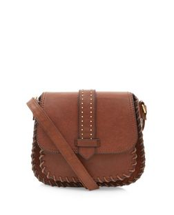 Brown Tab Pocket Front Saddle Bag  | New Look