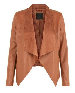 Tan Suedette Contrasted Bonded Waterfall Jacket  | New Look