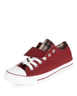 Teens Dark Red Double Tongue Lace Up Plimsolls  | New Look