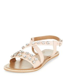 Oatmeal Cross Strap Embellished Sandals  | New Look