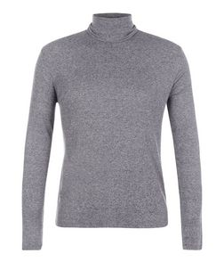 Grey Ribbed Roll Neck Jumper  | New Look