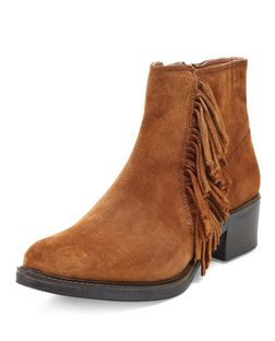 Wide Fit Tan Suede Tassel Side Ankle Boots  | New Look